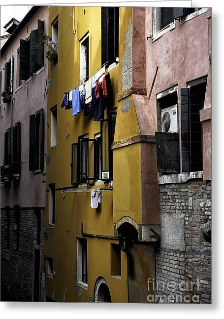 Hanging Laundry Greeting Cards - Yellow in Venice Greeting Card by John Rizzuto