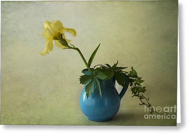 Blue Jar Greeting Cards - Yellow Iris Greeting Card by Elena Nosyreva