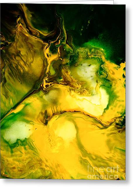 Yellow Jacket Abstract Art Greeting Card by Serg Wiaderny