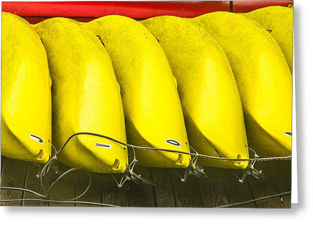 Clam Chowder Greeting Cards - Yellow Kayaks Greeting Card by Steven Bateson
