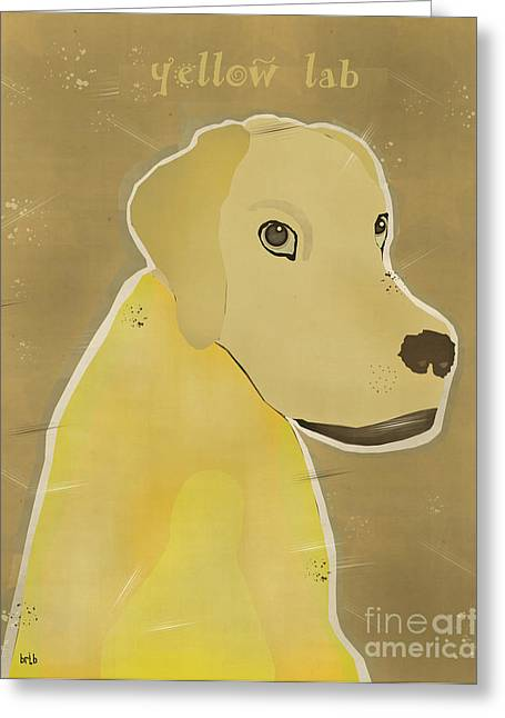 Canine Posters Greeting Cards - Yellow Lab Greeting Card by Bri Buckley