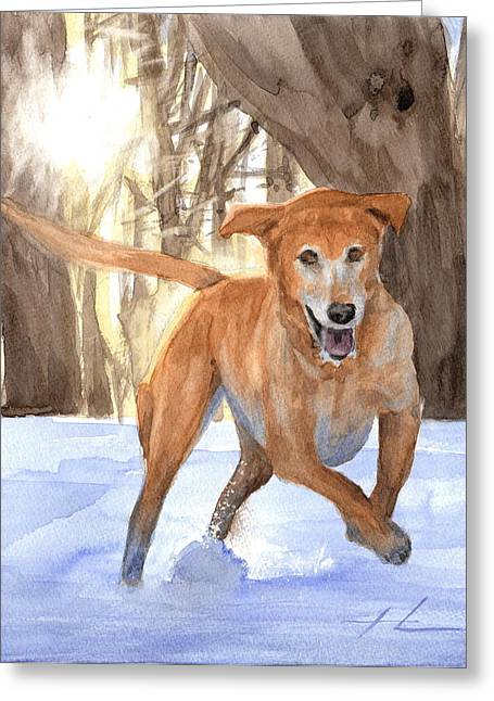 Dogs In Snow. Drawings Greeting Cards - Yellow Lab Dog In Snow Watercolor Portrait Greeting Card by Mike Theuer