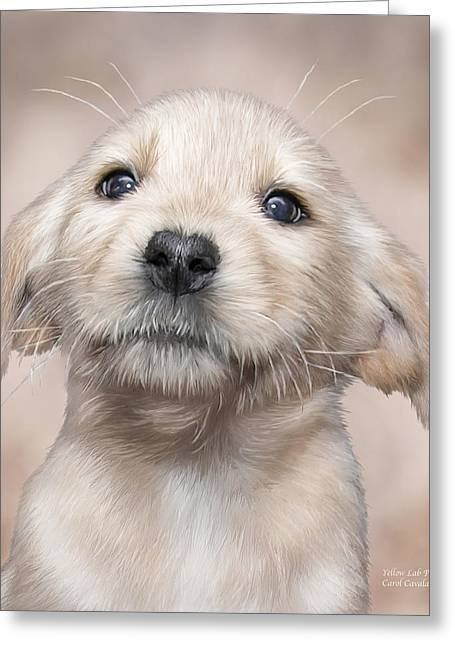 Puppies Mixed Media Greeting Cards - Yellow Lab Pup Greeting Card by Carol Cavalaris