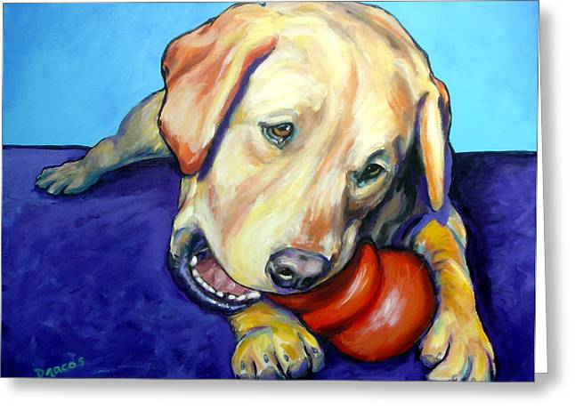 Toy Dogs Paintings Greeting Cards - Yellow Lab with Kong Greeting Card by Dottie Dracos
