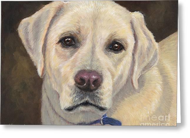 Retriever Prints Greeting Cards - Yellow Labrador Retriever Greeting Card by Hope Lane