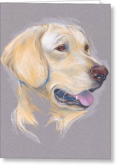 Labradors Pastels Greeting Cards - Yellow Labrador Retriever Portrait Greeting Card by MM Anderson