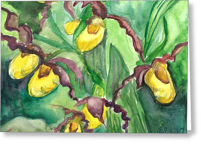 Yellow Ladies Slippers Greeting Card by Christina Plichta