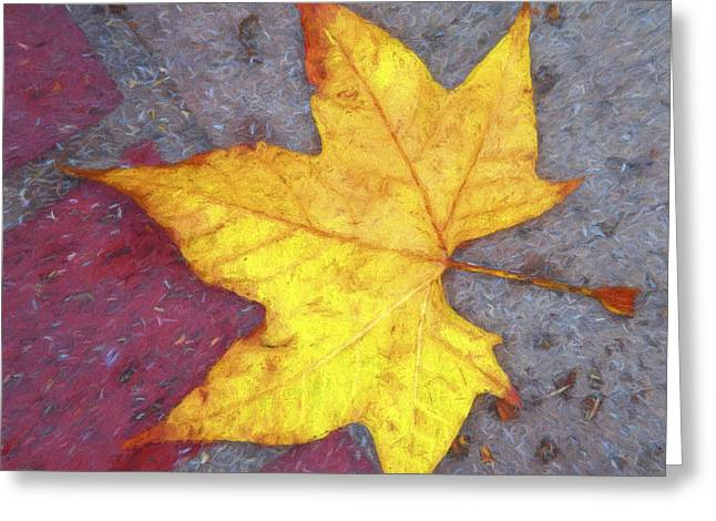 Red Leaves Digital Greeting Cards - Yellow Leaf Autumn Greeting Card by Carol Leigh