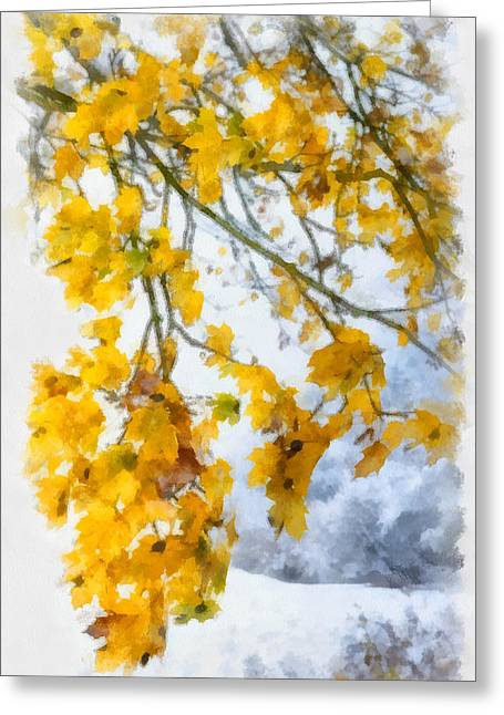 Gelb Greeting Cards - Yellow leaves in fall - early winter brings the first snow - digital aquarell painting Greeting Card by Matthias Hauser