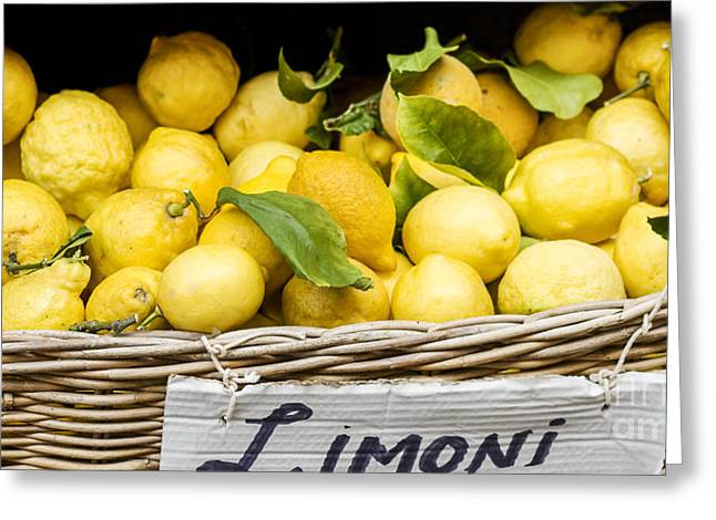Limoni Greeting Cards - Yellow Lemons In Basket On Market Greeting Card by Patricia Hofmeester