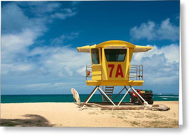 Maui Greeting Cards - Yellow Lifeguard Shack  Greeting Card by Andy Jackson