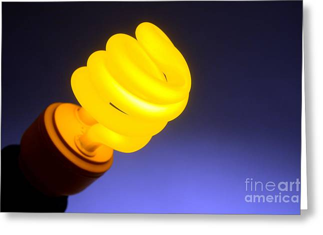 Bulb Greeting Cards - Yellow Light Greeting Card by Olivier Le Queinec