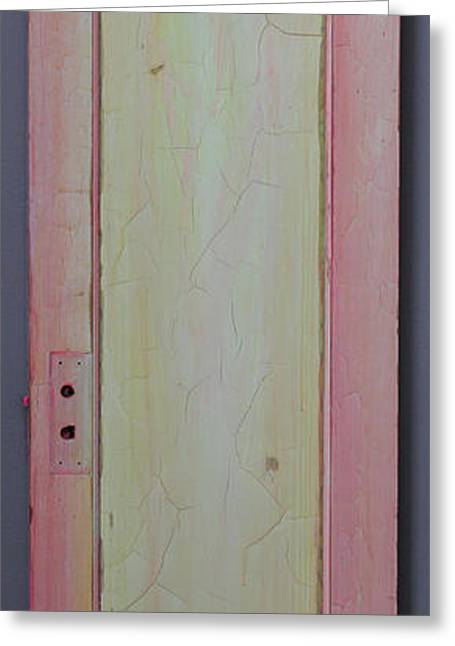 Print Sculptures Greeting Cards - Yellow Lighted Pink Door Greeting Card by Asha Carolyn Young