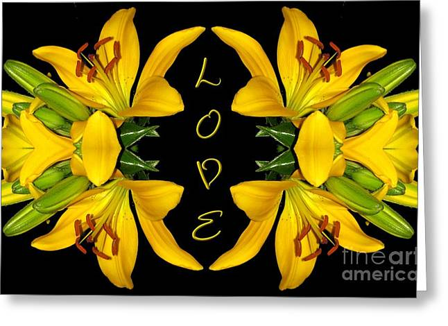 Sofranko Greeting Cards - Yellow Lilies With Love Greeting Card by Rose Santuci-Sofranko