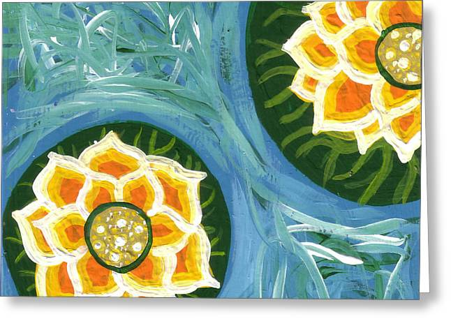 Yellow Flowers Stretched Prints Greeting Cards - Yellow Water Lilies Greeting Card by Genevieve Esson