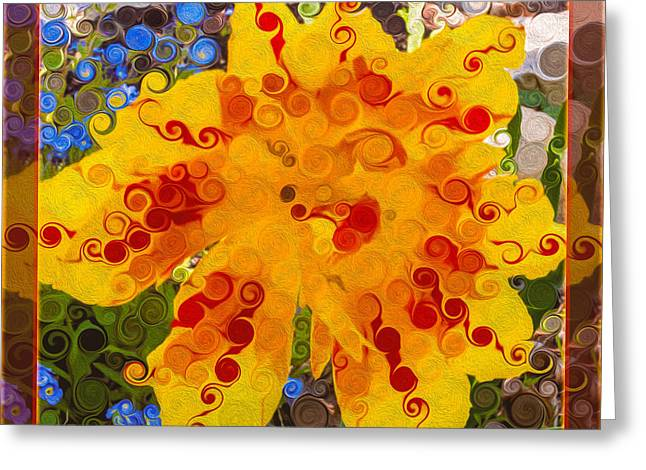 Owfotografik Greeting Cards - Yellow Lily with Streaks of Red Abstract Painting Flower Art Greeting Card by Omaste Witkowski