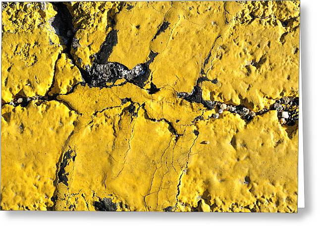 Black Top Greeting Cards - Yellow Line Abstract Greeting Card by Luke Moore