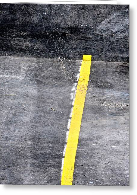 Yellow Line Greeting Card by John Illingworth