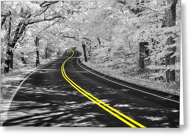 Yellow Line Greeting Cards - Yellow Line Greeting Card by Michael Blanchette