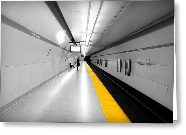 Weekly Greeting Cards - Yellow Line Greeting Card by Valentino Visentini