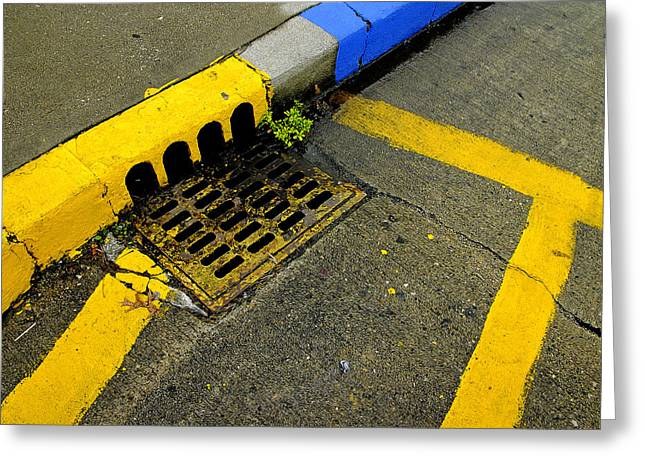 Sewer Greeting Cards - Yellow Lines And Sewer Grate On Street Greeting Card by Panoramic Images