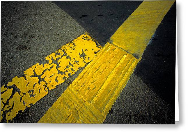 Yellow Line Photographs Greeting Cards - Yellow Lines On Road Greeting Card by Panoramic Images