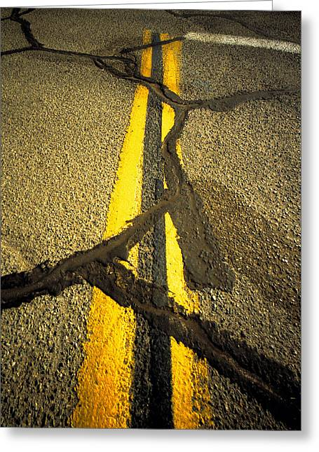 Double Yellow Line Greeting Cards - Yellow Lines With Repaired Cracks Greeting Card by Panoramic Images