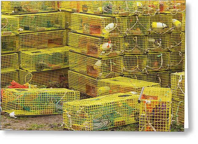 Lobster Nets Industry Greeting Cards - Yellow Lobster Traps In Maine Greeting Card by Keith Webber Jr