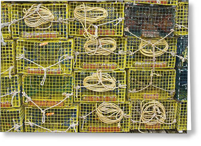 Edge Greeting Cards - Yellow Lobster Traps Greeting Card by Keith Webber Jr