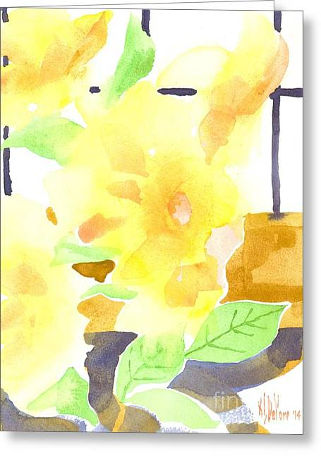 Green And Yellow Greeting Cards - Yellow Magnolias in the Window Greeting Card by Kip DeVore