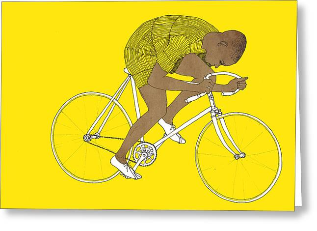 Bike Race Greeting Cards - Yellow Major Taylor Greeting Card by Eliza Southwood
