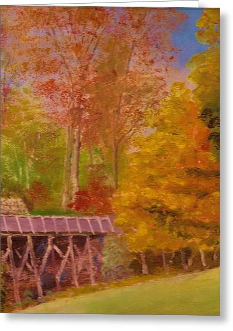 Yellow Maple Tree Near Old Mill Greeting Card by Anne-Elizabeth Whiteway