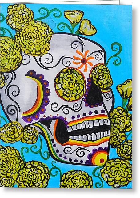 Marigold Festival Greeting Cards - Yellow Marigold Skull Greeting Card by Lovejoy Creations