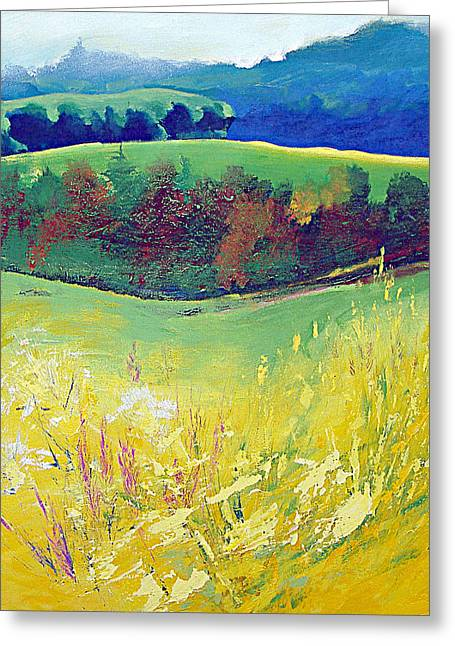 Hills Greeting Cards - Yellow Meadow Greeting Card by Neil McBride