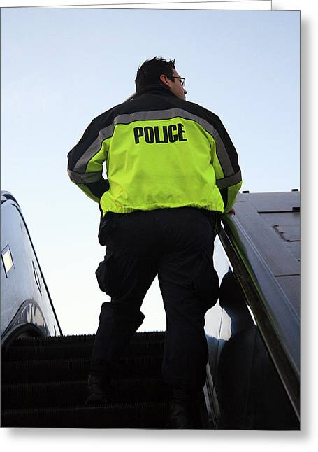 Police District Greeting Cards - Yellow Means Transit Police Greeting Card by Cora Wandel