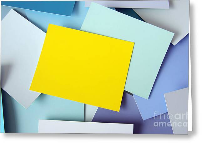 Labelled Greeting Cards - Yellow Memo Greeting Card by Carlos Caetano