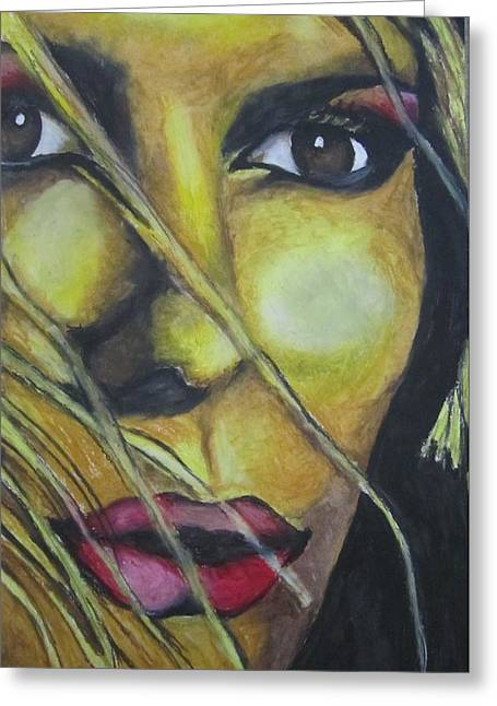Red Lips Pastels Greeting Cards - Yellow Models Face Greeting Card by Lyuda Packer