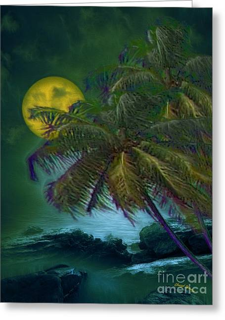 Reception Greeting Cards - Yellow Moonlight Greeting Card by Cheryl Young