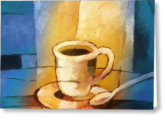 Coffee Greeting Cards - Yellow Morning Cup Greeting Card by Lutz Baar