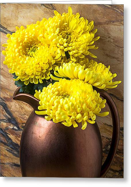 Pitcher Greeting Cards - Yellow mums in copper vase Greeting Card by Garry Gay