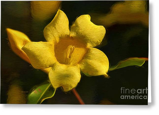 Stamen Paintings Greeting Cards - Yellow on the Wildside Greeting Card by Deborah Benoit