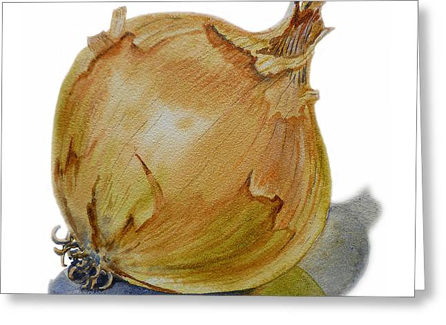 Vegetables Paintings Greeting Cards - Yellow Onion Greeting Card by Irina Sztukowski