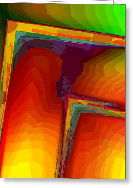 Green Surreal Geometry Greeting Cards - Yellow Orange and Green Design Greeting Card by Mario  Perez