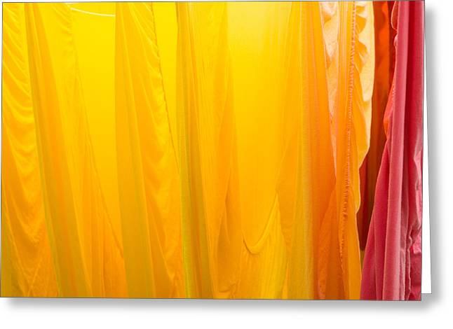 Bed Linens Greeting Cards - Yellow orange and red bed sheets bright and colorful Greeting Card by Matthias Hauser