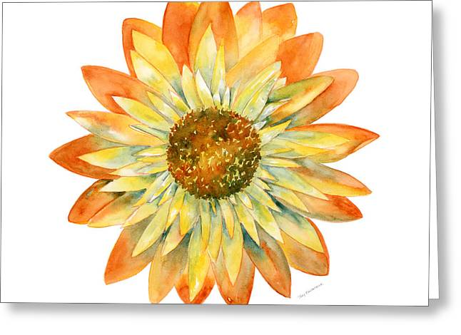 Background Paintings Greeting Cards - Yellow Orange Daisy Greeting Card by Amy Kirkpatrick