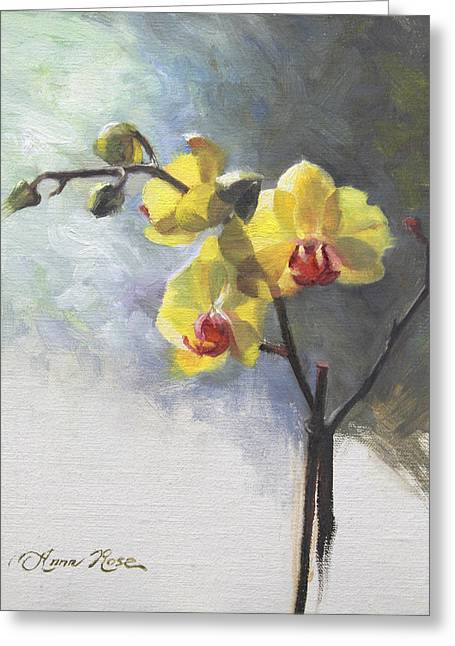 Orchid Greeting Cards - Yellow Orchid Greeting Card by Anna Rose Bain