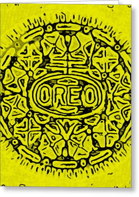 Oreo Greeting Cards - Yellow Oreo Greeting Card by Rob Hans