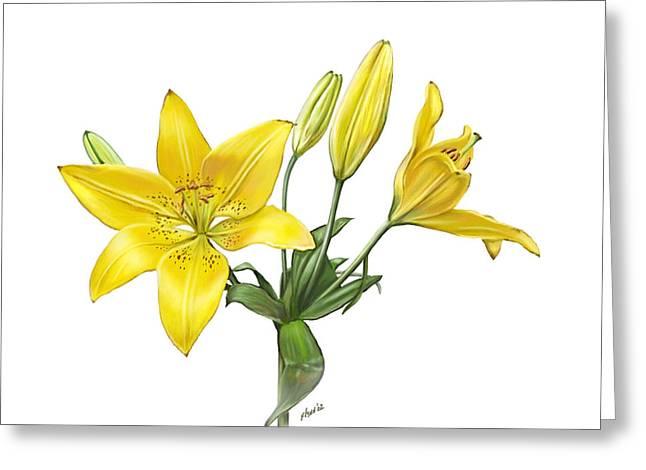 Loop De Loop Greeting Cards - Yellow Oriental Lily Greeting Card by Artellus Artworks