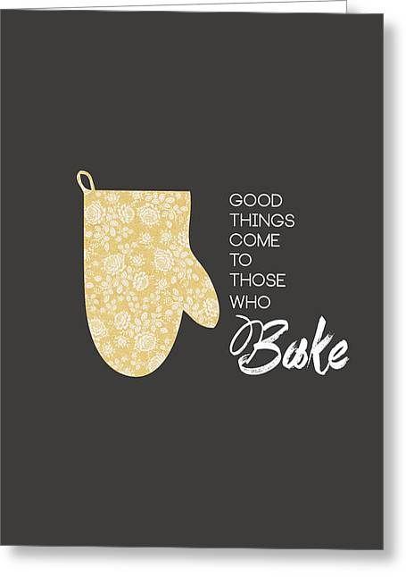 Food Digital Greeting Cards - Yellow Oven Mitt Greeting Card by Nancy Ingersoll