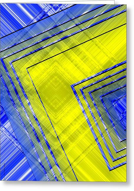 Transparency Geometric Greeting Cards - Yellow over Blue Geometric Art Greeting Card by Mario  Perez